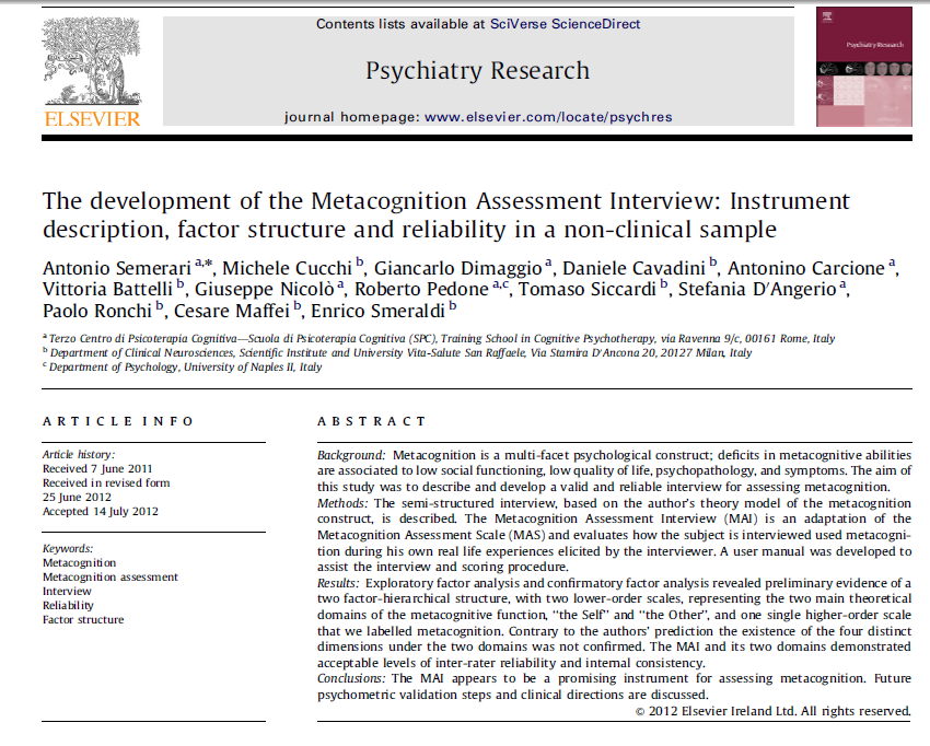 The Development of the Metacognition Assessment Interview: Instrument