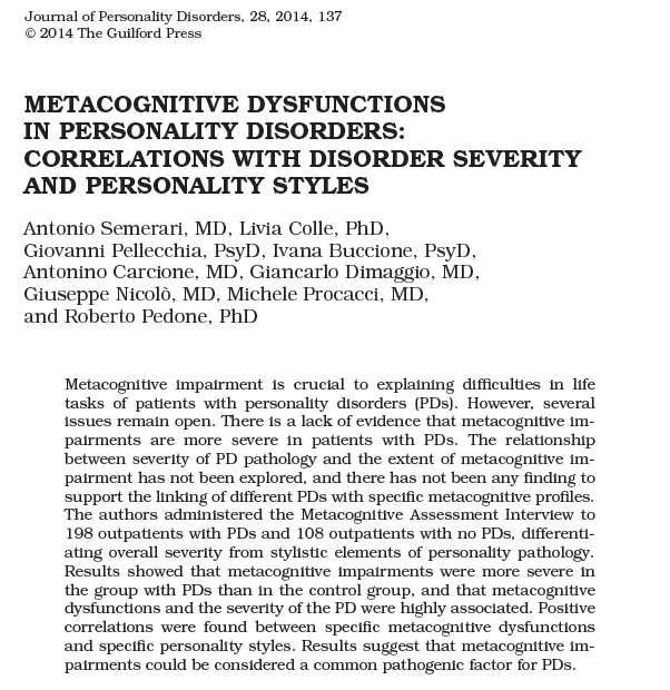Metacognitive Dysfunctions in Personality Disorders: Correlations with Disorder Severity