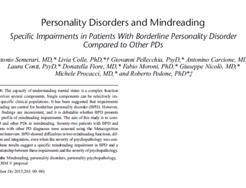 Personality Disorders and Mindreading: Specific Impairments in Patients With Borderline Personality Disorder Compared to Other PDs